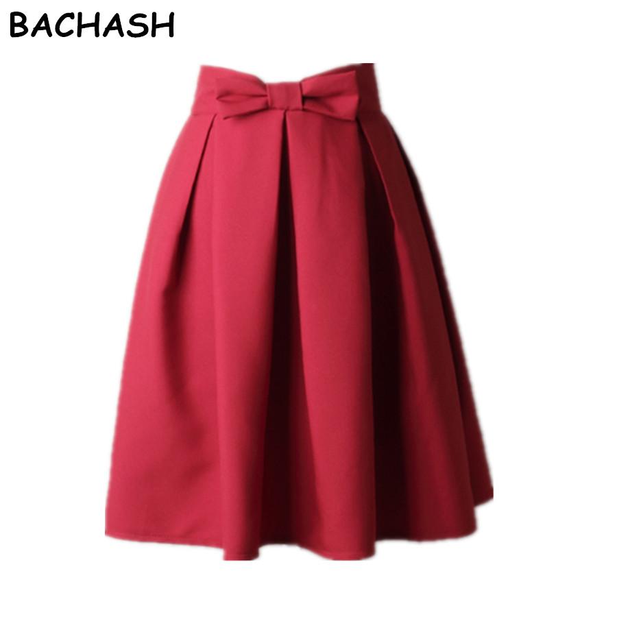 BACHASH Elegant Women Skirt High Waist Pleated Knee Length Skirt Vintage A Line Big Bow Red Black Side Zipper Skater Skirts Red 1