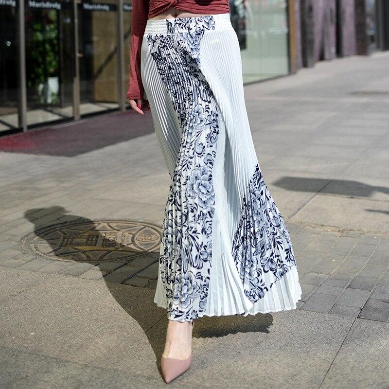 Vintage Print Elastic High Waist Korean Women Long Skirts Black White Maxi Pleated Skirt Saias Fadalas 3