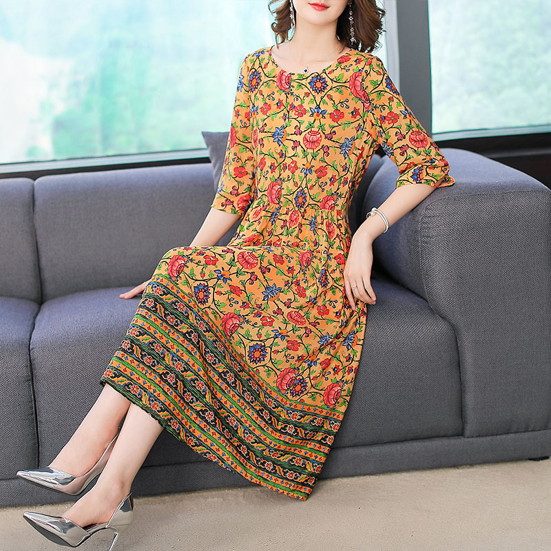 Imitate Real Silk Dress Sweet Women Clothes New Summer Fashion Half Sleeved Print Dresses Lady's Casual Party Dress 1