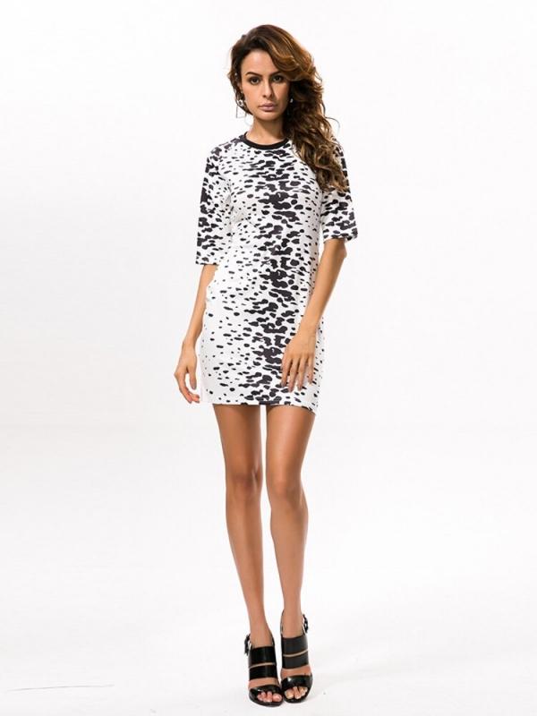 Casual Half Sleeve African Dresses for Women Fashion Print Round-neck Elegant Dress