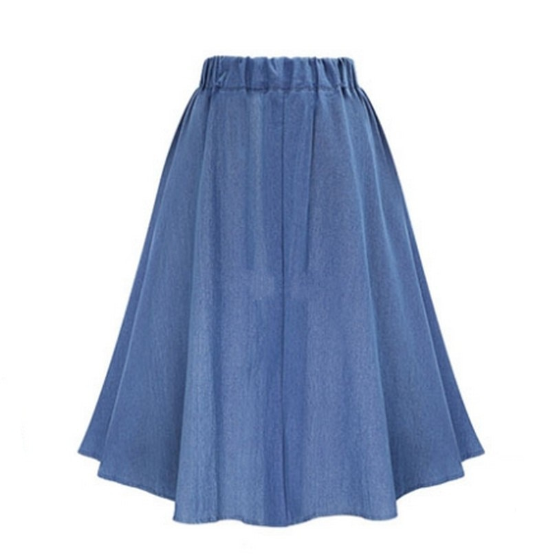 Retro High Waist Denim Skirts Loose Solid Thin Jean Faldas Mujer Fashion Single Breasted Jupe Cozy Summer 17 Women Skirts 2