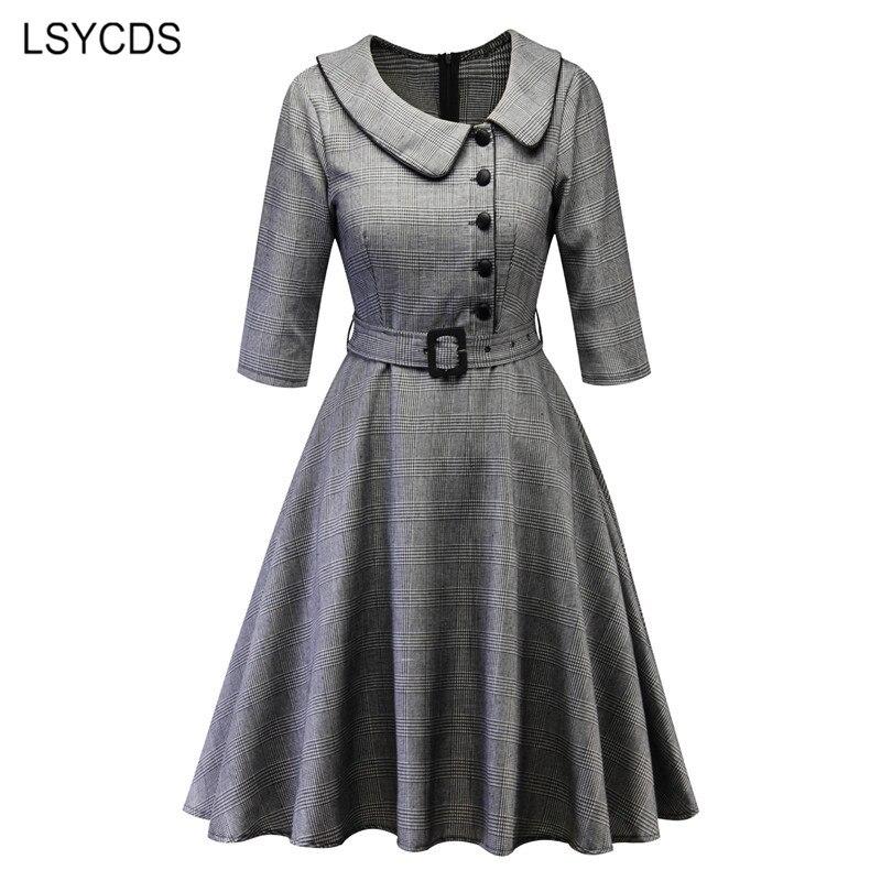 LSYCDS Autumn Winter Women Elegant Dresses Half Sleeve Peter Pan Collar 1950s Retro A-line Knee Length Big Swing Vintage Dress 3
