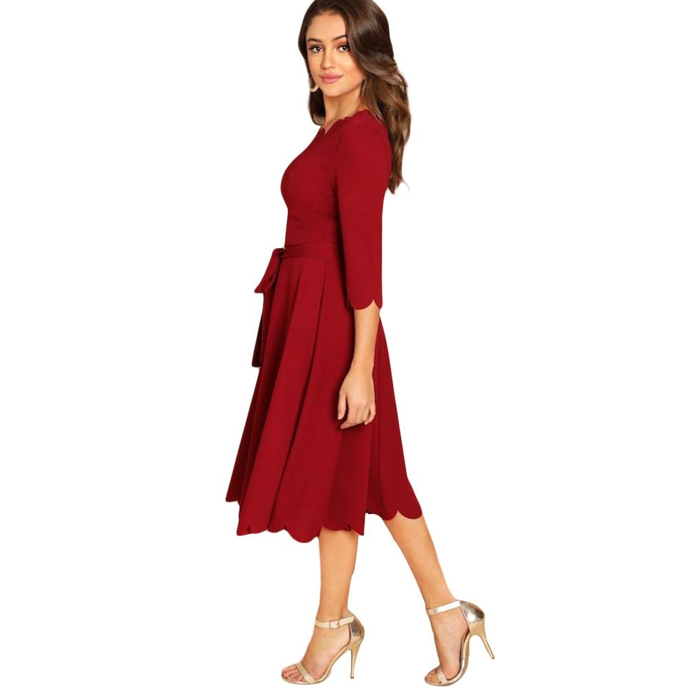 Kenancy Solid Plus Size Women Causal Dress Autumn Wave Cut Half Sleeve Femme Party Dresses Lace Up A-Line Midi Feminino Vestidos 3