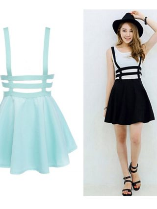 EFINNY Retro Hollow Women Ladies Skater Strap Skirt Suspender Skirt Mini Kawaii Pleated Skirt