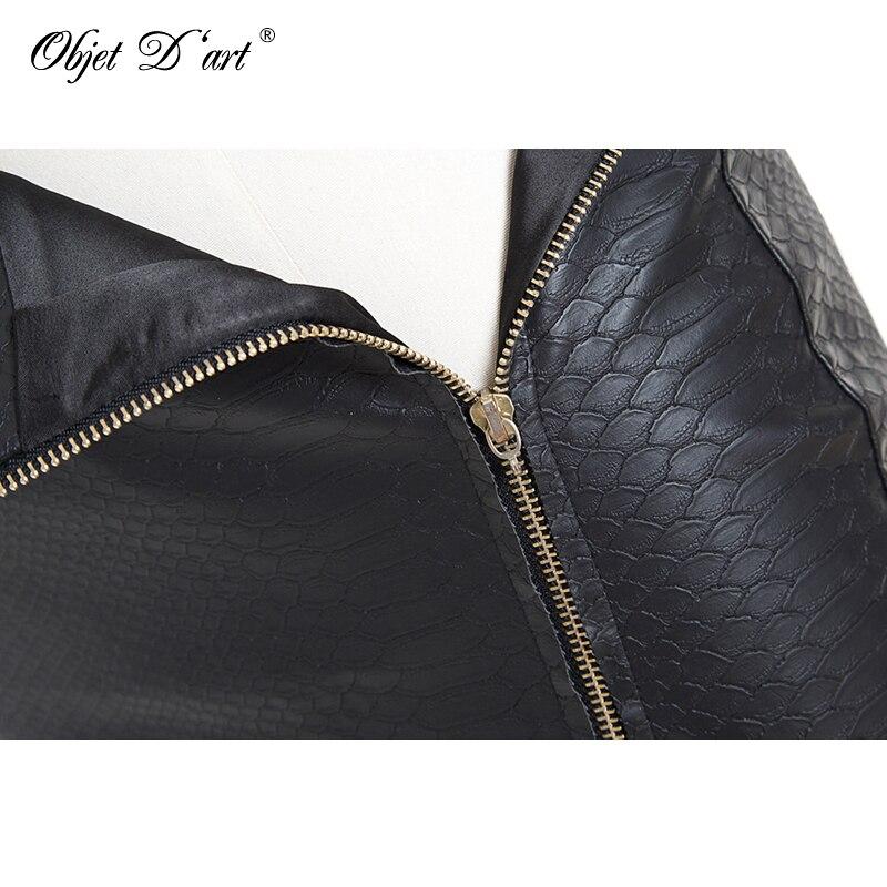 Fashion Women Zipper Up Faux Snake Skin Leather Skirt Polyester Lining Sexy Asymmetrical PU Mini Skirt High Quality For 4 Season 3