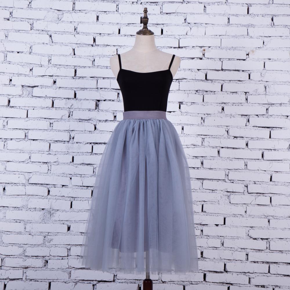 FOLOBE Vintage 7 colors faldas korean style 80cm Long maxi Tulle skirts autumn jupe high waist adult long tulle skirt 4 Layers 2