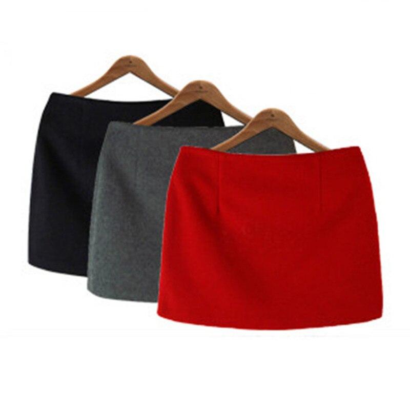 Fashion Autumn Winter Mini Skirts 16 Women Solid Slim A-Line Pencil Skirts Plus Size Candy Colors Korea Women Skirt 1