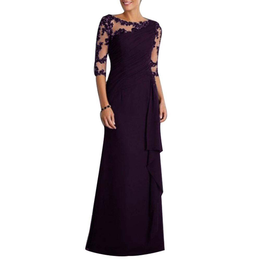 Wholesale Wedding Party See-through Lace Women's Formal Half Sleeve Pleated Maxi Dress 1