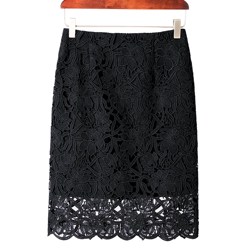 KoHuiJoo 19 Summer Lace Skirts Women Plus Size Hollow Out Lady Sexy Pencil Skirt Big Size High Waist High Quality White Blue 2