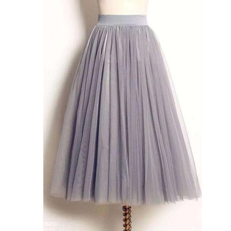UWBACK Women Skirt 18 Summer Long Maxi Mesh Skirt Tulle Skirts Women's Full Skirt Tutu 3 Colors Mujer Falda KB1040 1