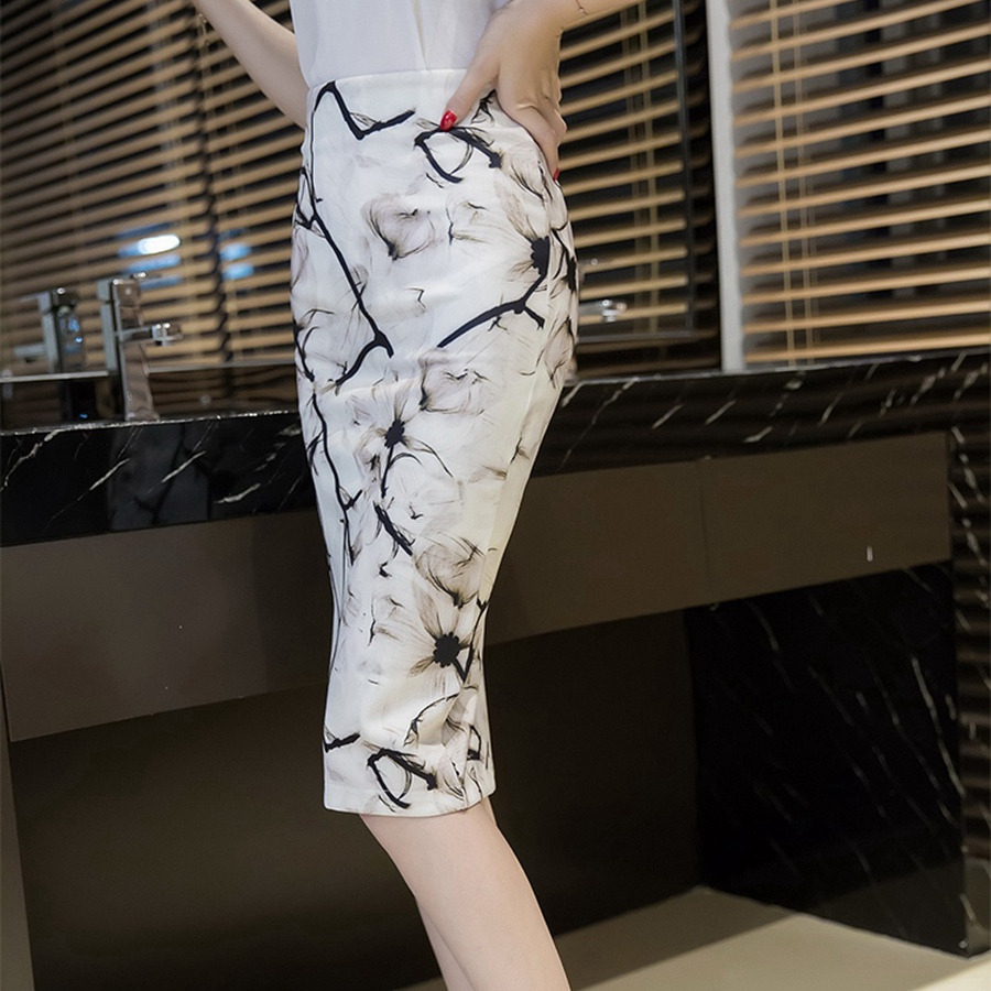 S-3XL Women Sexy Work Skirts Fashion Mid Calf Long Skirt Bodycon Elegant Open Split Stretch Office OL Print Pencil Skirt 3