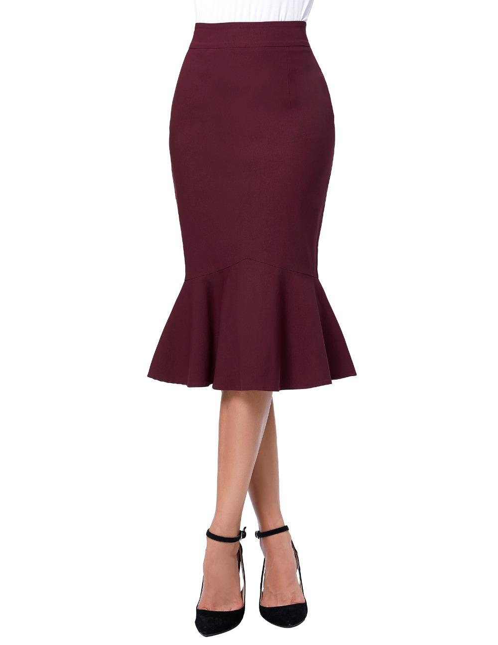 17 Skirts Faldas Women's Fashion OL Casual Mermaid Dark Wine Black Pencil Skirt Jupe Longue High Waist Sexy Long Skirt 1