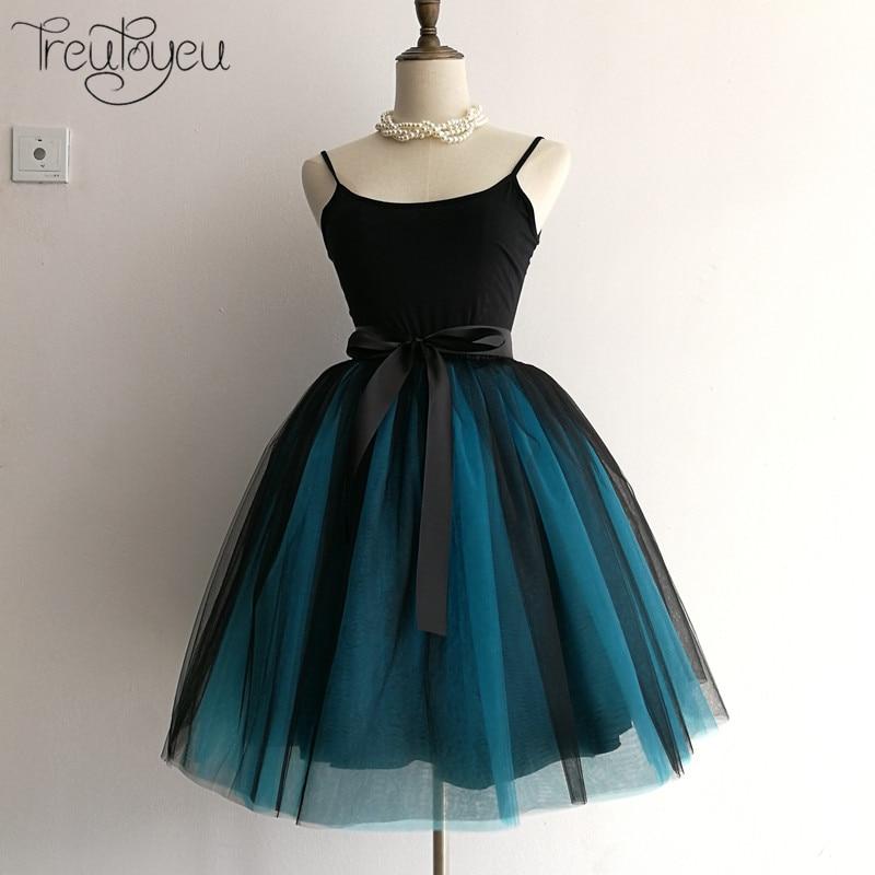 Gothic 5 Layers 65cm Mix Colors Tutu Tulle Skirt Women Streetwear High Waist Pleated Midi Skirts spudniczki jupe rokken faldas 2