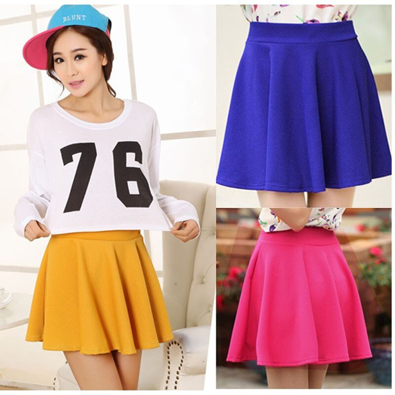 WEIXINBUY Spring New Women Candy Color Casual A-line Flared Mini Circle Short Pleated Women Skirt 3