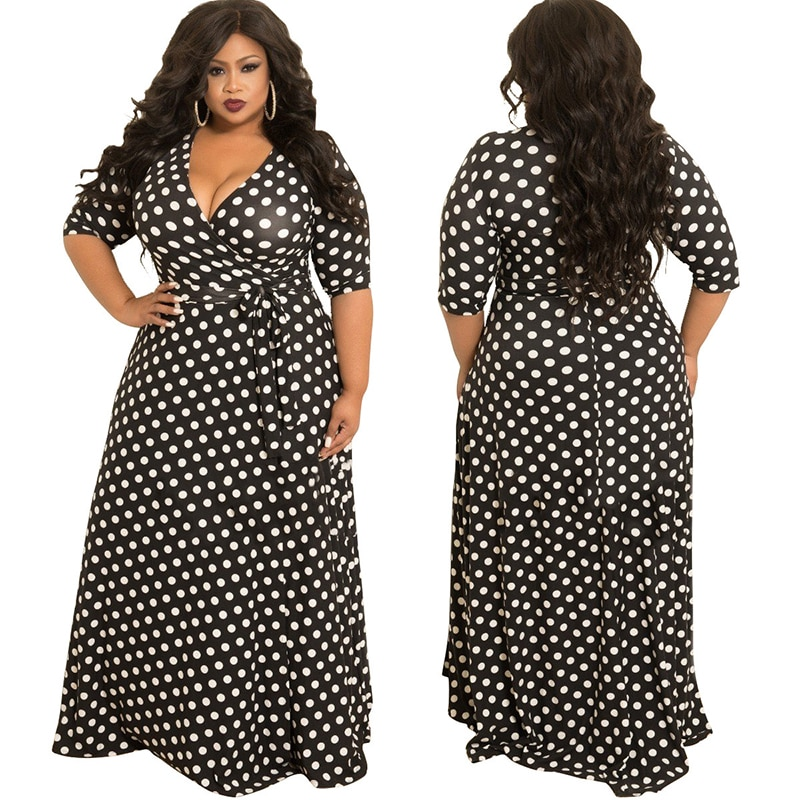 Autumn Women Plus Size Dress with Lace-up V-neck Half Sleeve Dots Digital Printing A-Line Type Big Swing Dress Floor Length 3