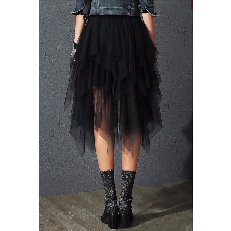 Tulle Skirts Womens Faldas Mujer Moda 19 Fashion Elastic High Waist Mesh Tutu Maxi Pleated Long Midi Saias Jupe Women's Skirt 2