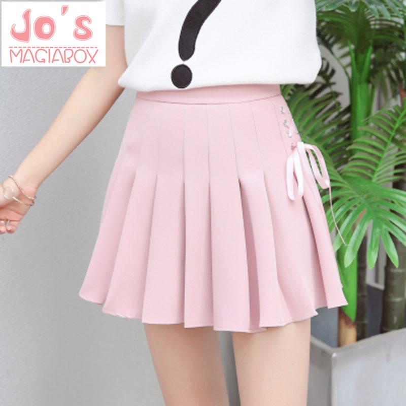 Summer New Fashion Solid Denim Pleated Skirt Harajuku Lace-Up Hight Waist Casual Sexy Micro Mini Short School Skirts Women 1