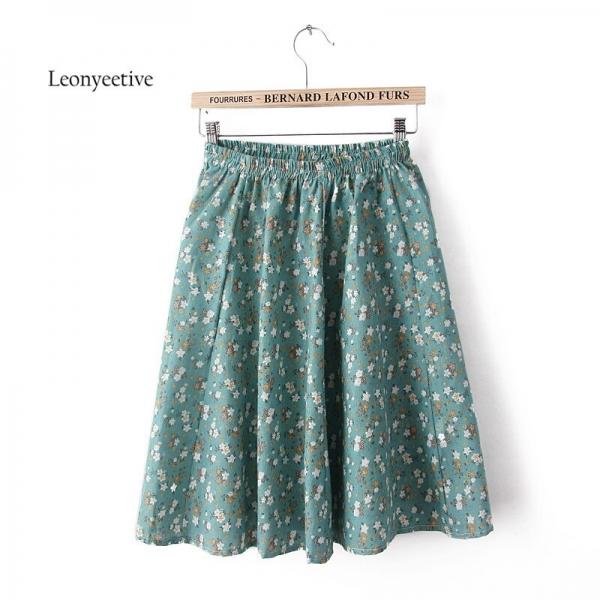 Leonyeetive 18 new Spring Summer Casual Floral Fashion linen Skirts Women Cotton Linen girl lady short Skirt