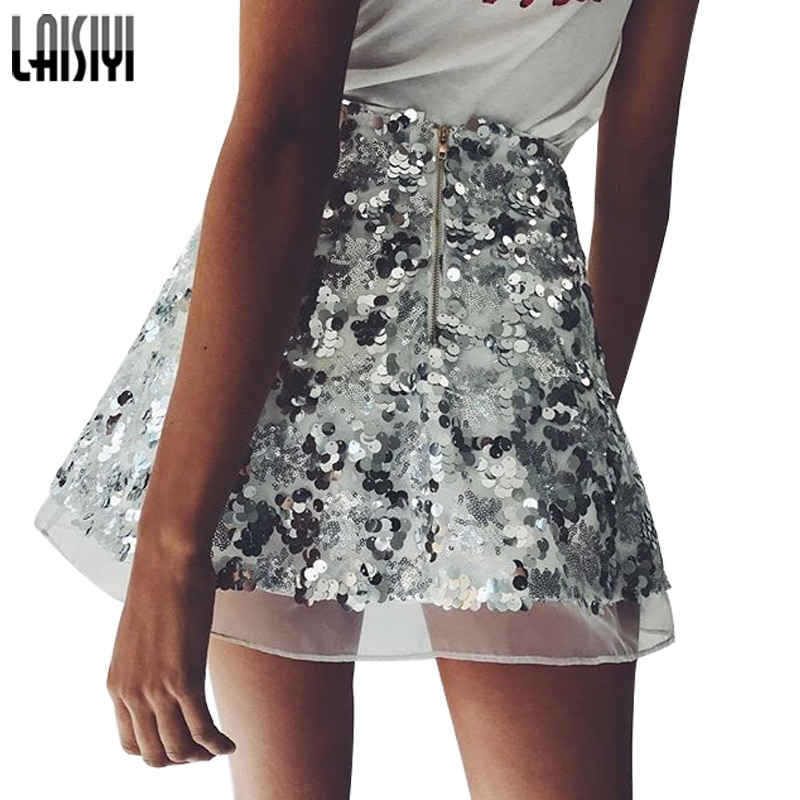 LAISIYI Gold Sequin Mesh Mini Skirts Womens Christmas High Waist Skirt Zipper Casual Short Party Beach Black Skirt ASSK005 3