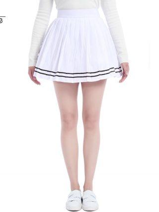 ROLECOS Brand New Women Summer Patchwork Black Chiffon Pleated Skirt School Patterns Preppy Sweet Style Skirt Large Size S-4XL