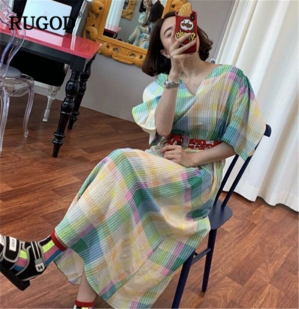 RUGOD 19 New Arrival Women Colorful Dress V-neck Half Sleeves Loose Straight Vintage With Sash Constrast Colors Vintage Mujer