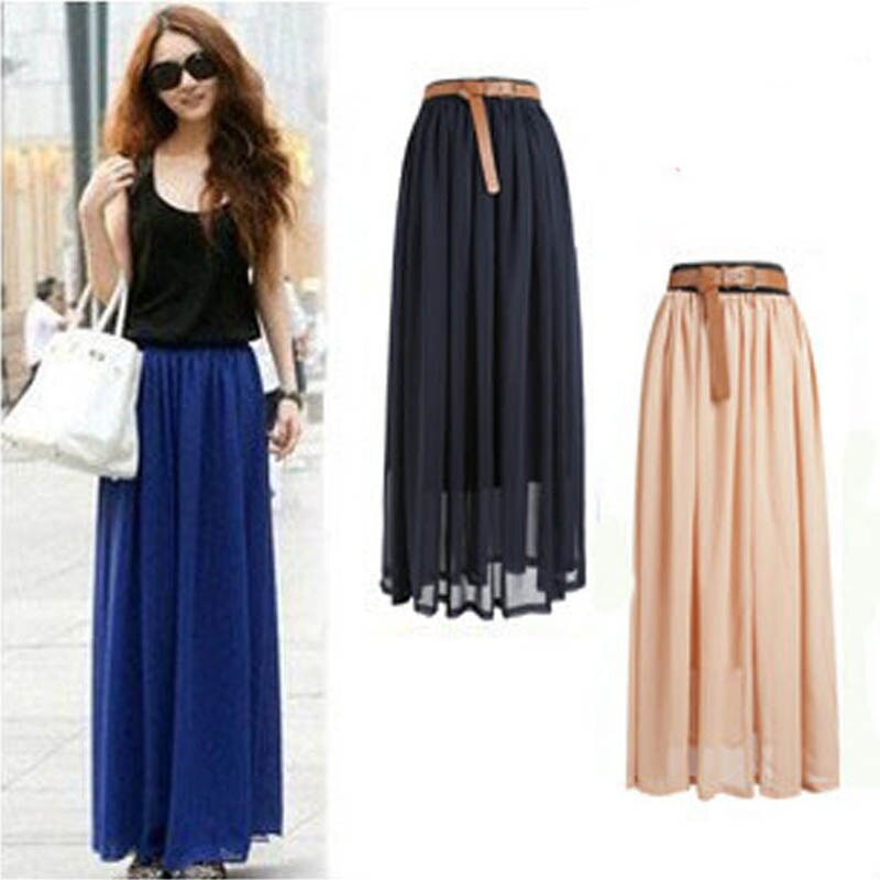 New Brand Fashion Designer Sexy Style Skirt Women Sexy Chiffon Candy Color Long Skirt High Quality Nice designs Hot selling 1