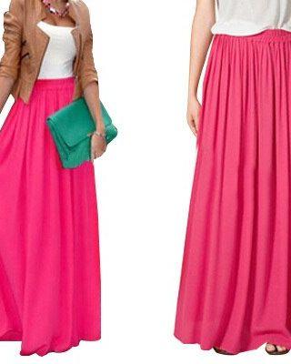 SK71 Long Skirt Elegant Style Women Pastel Jupe Pleated Chiffon Maxi Skirts Floor-Length Saia Vintage Saias Womens Solid Faldas