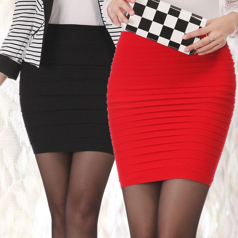 100% New 15 Colors Summer Lady Short Mini Jupe Bandage Slim Bodycon Fashion Skirts High Waist Elastic Pleated Hip Short Skirt
