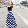 Fashion Vintage Polka Dots Women Long Skirt High Waist Printed Maxi Skirt Casual Elegant Black/Blue/Red Pleated Skirt
