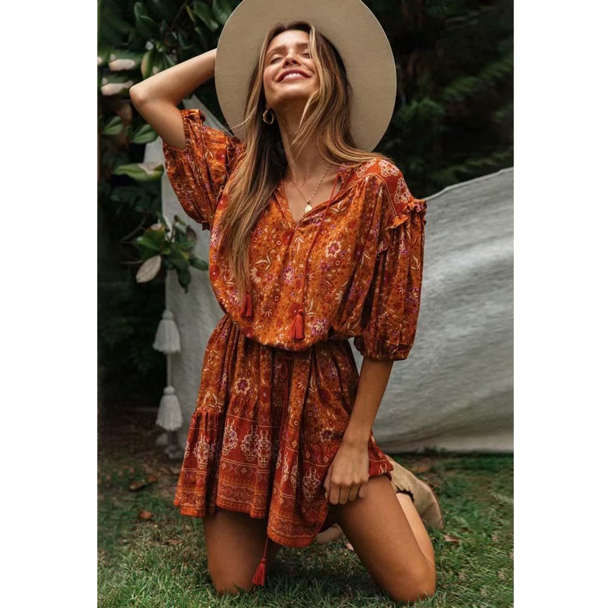 Hippie Floral Print Female Short Dress  Summer Sexy V Neck Lantern Sleeve Tassel Retro Vestidos Boho Casual Woman Mini Dress 3