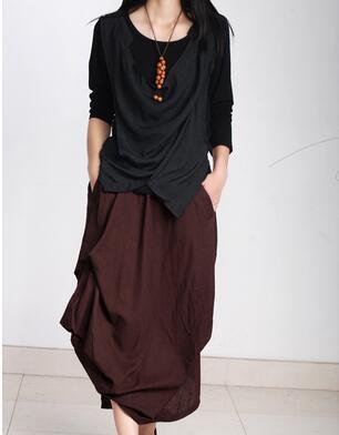 Original design European casual style Linen skirts casual style asymmetrical Women cotton linen skirts 2