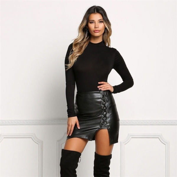 19 New Pencil Skirt Women Black Bodycon Bandage Skirts Zipper Lace Up Split Side Slit Party Club Wear Pu Leather Women Skirt