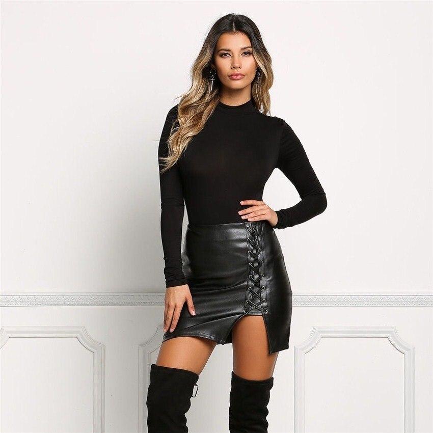 19 New Pencil Skirt Women Black Bodycon Bandage Skirts Zipper Lace Up Split Side Slit Party Club Wear Pu Leather Women Skirt