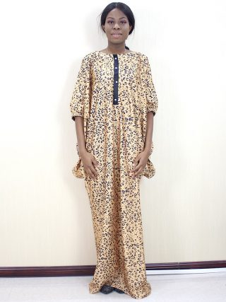 New Arrivals Traditional Print African Dresses for Women Button Indie Folk Autumn Half Sleeve Maxi Dress