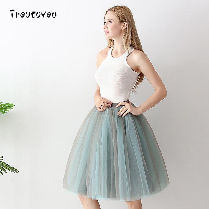 6 Layers Fashion Tutu Tulle Skirt Knee Length Pleated Skirts Womens Wedding skirt Lolita Petticoat Saia Faldas Jupe 1