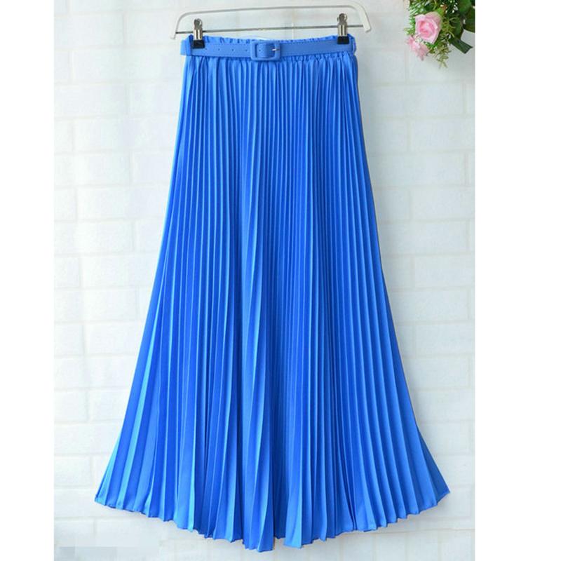 17 Summer New Fshion faldas Korean Style Big Swing Maxi Skirts Womens Summer jupe High Waist Adult Long Chiffon tulle skirt 3