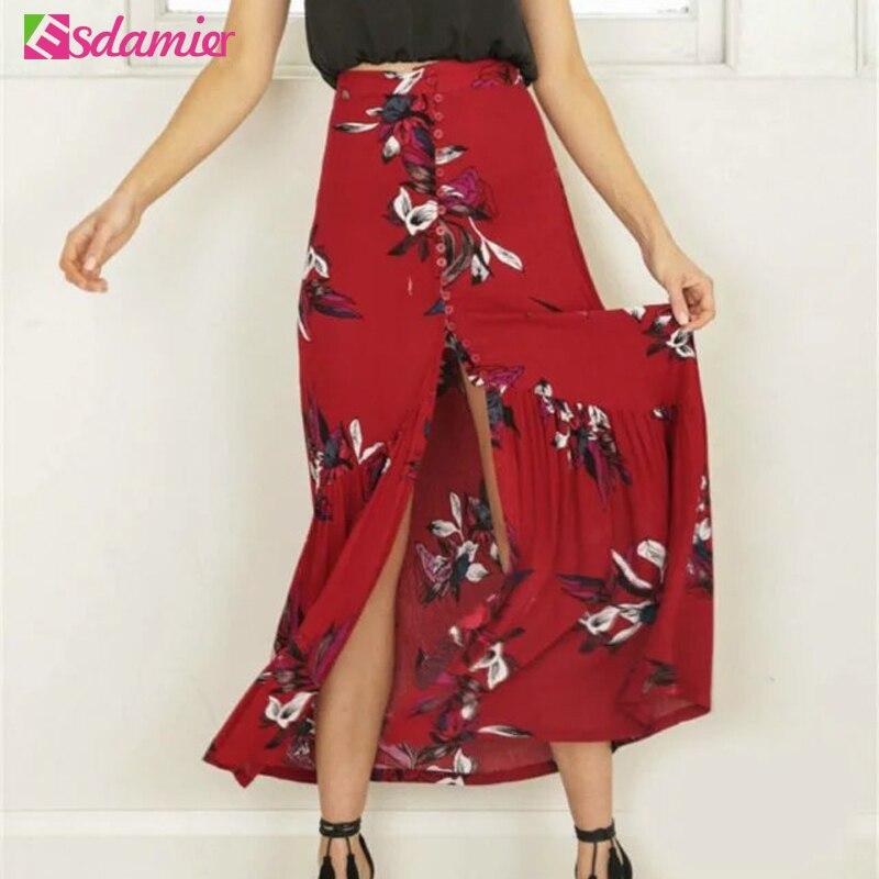 New New Boho Print Long Skirt High Waist Floral Beach Female Skirt Chic Split Maxi Skirts Womens Summer Vintage Saia Longa 3