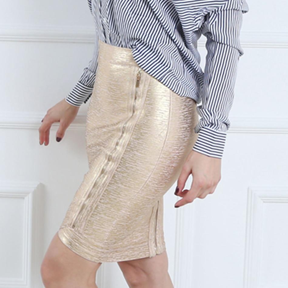 Women gold foil bandage skirts zipper asymmetric rayon spandex mini sexy bodycon pencil skirt HL for nightclub fashion HL410 2