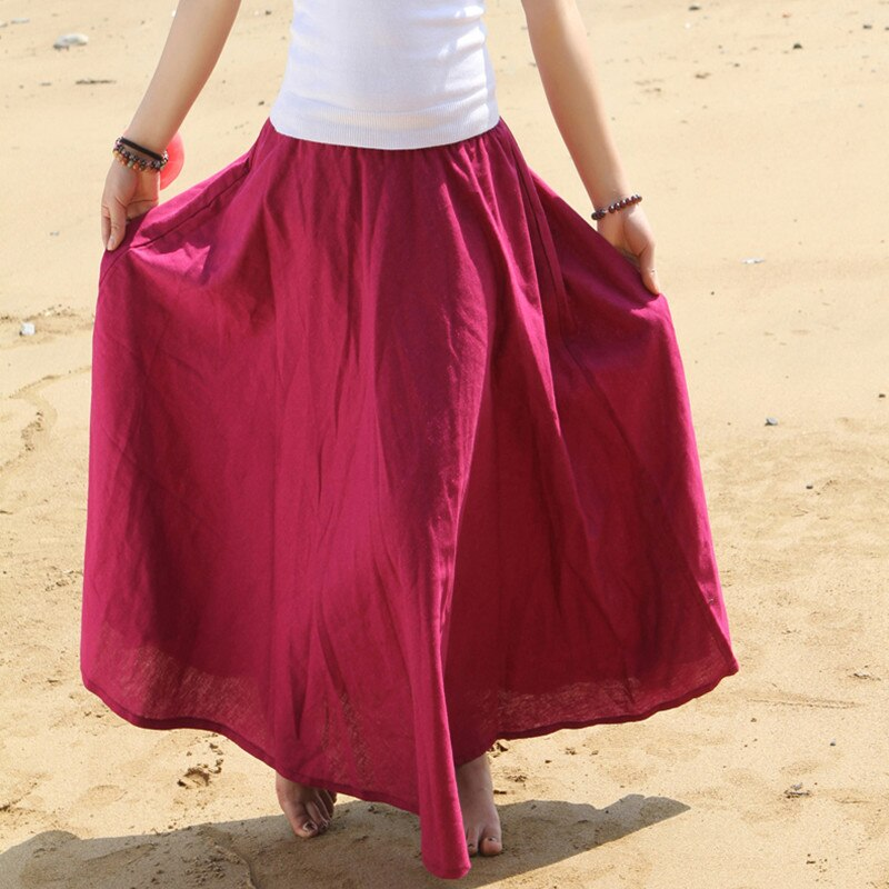 Free Shipping 18 Fashion Women Summer Spring New Linen Cotton Long Maxi Skirt Elastic Waist Bohemian Beach A-line Ladies Skirt
