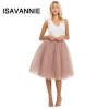 Isavannie Puffy 5 Layers Tulle Skirt Hidden Zipper Style High Waisted Midi Skirts Womens Pleated Skirt Faldas Saias Premium Sewn
