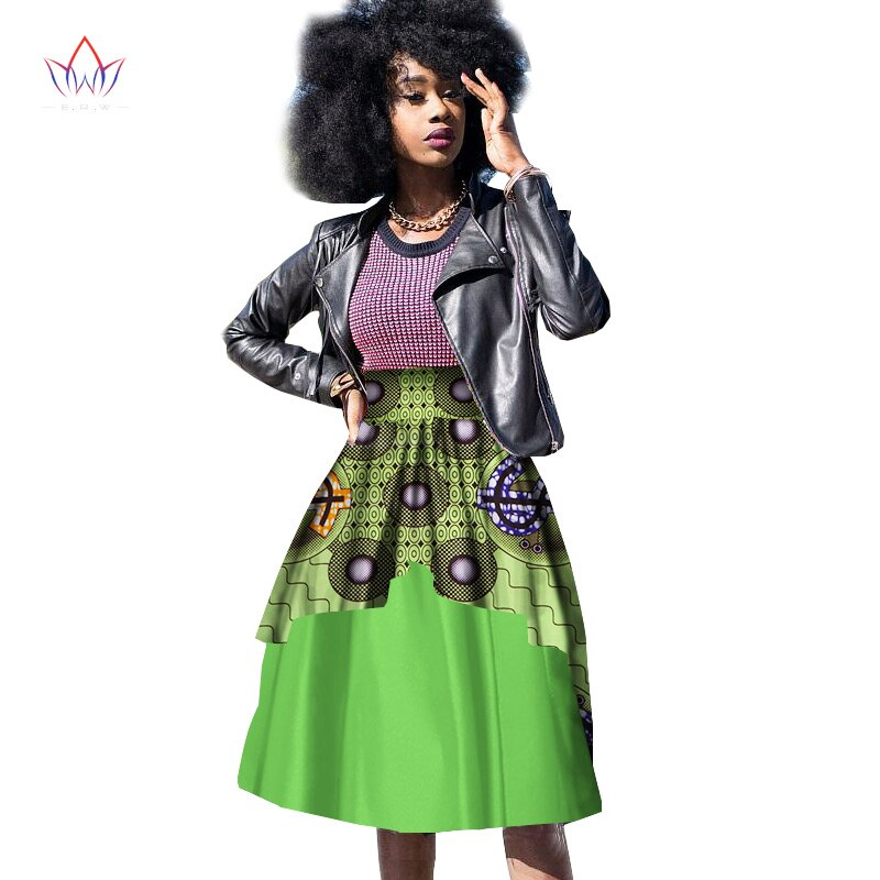 New Bazin Riche African Clothing for Women Dashiki African Wax Print Knee-Length Ball Gown Double Layer Skirt WY10 2