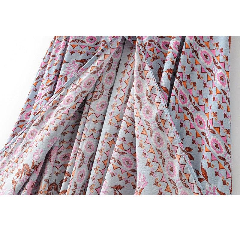 19 Floral Print Summer Women's Skirt Bohemian Elastic Waist Buttons Tassel Belt Long Maxi skirts Brand Clothing Female Saia 3