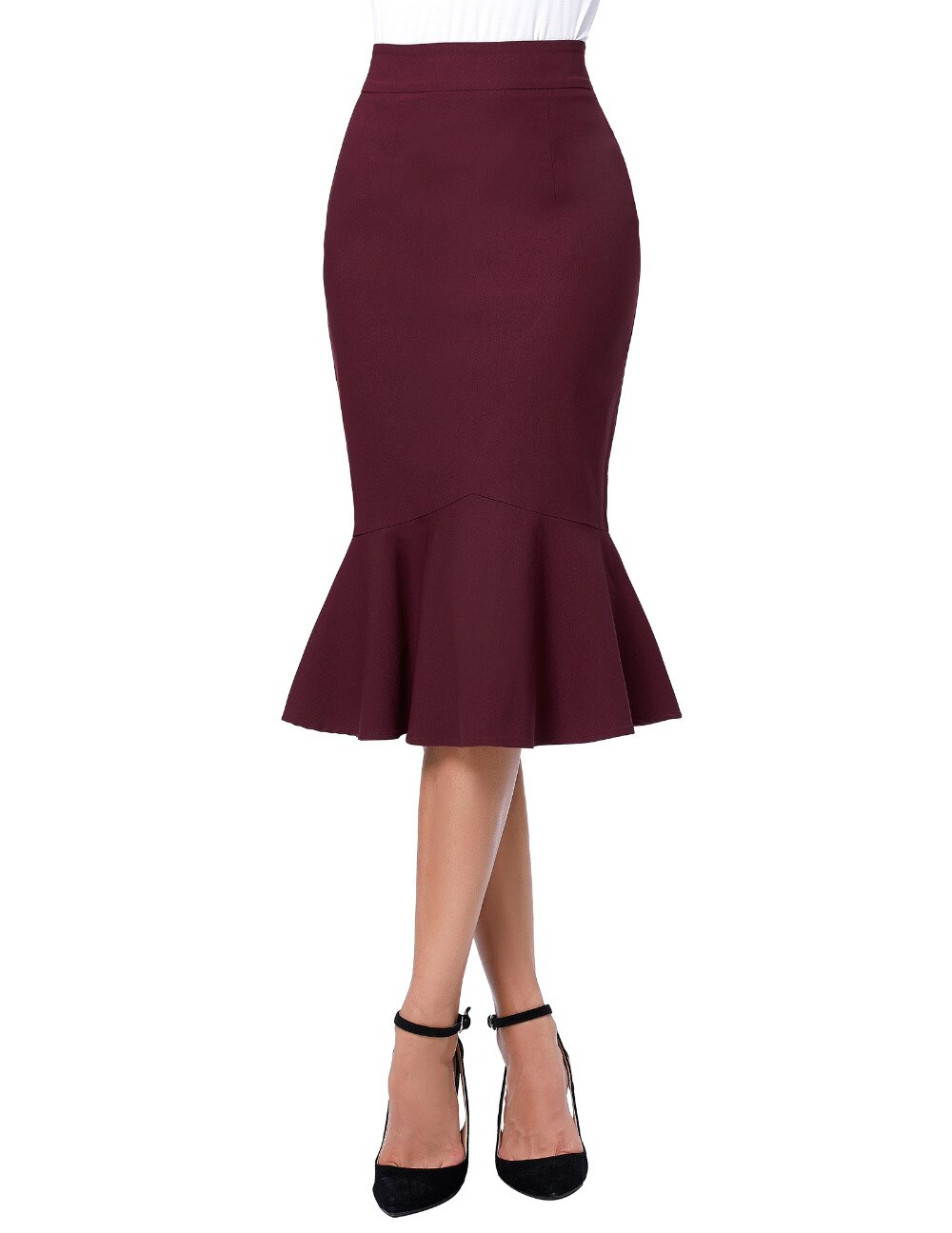 17 Skirts Faldas Women's Fashion OL Casual Mermaid Dark Wine Black Pencil Skirt Jupe Longue High Waist Sexy Long Skirt