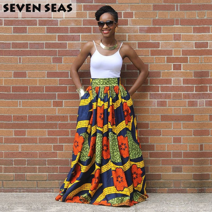 Elegant Long African Print Skirt Vintage Ethnic High Waist Maxi Skirts Jupe Longue Femme 1