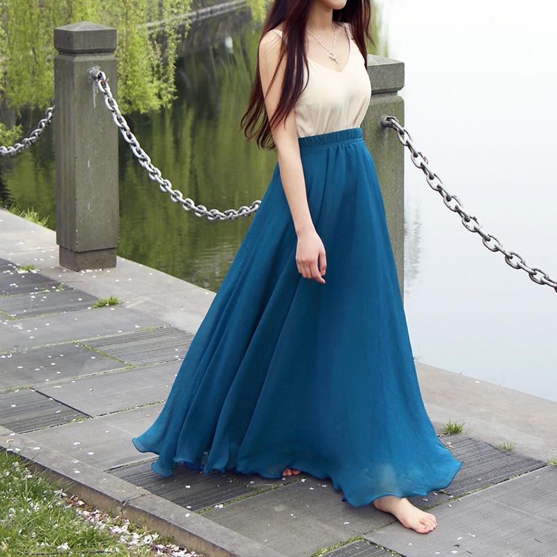 Bohemian Chiffon Beach Skirts Womens High Waist Pleated Long Skirt Ladies Casual Maxi Skirts Saia Faldas Color Blue Green Red 2