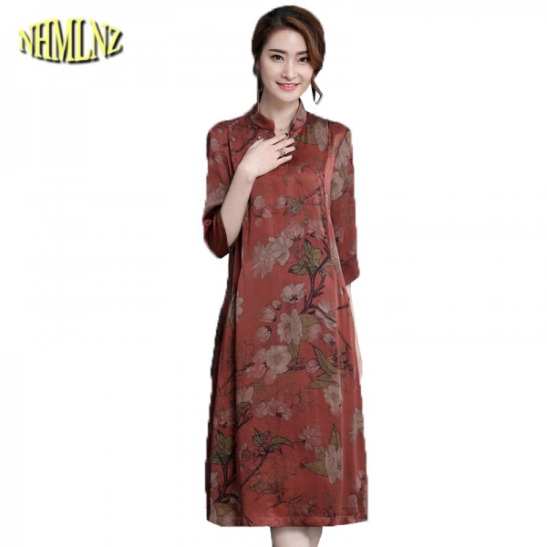 M-4XL Large size Middle-aged Women's Dresses Summer Elegant Slim Dress Stand neck Half sleeve Printed Dress Vestidos DAN029