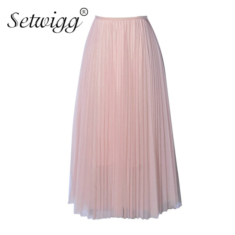 SETWIGG Sweet Pink Layered Tulle A-line Long Pleated Spring Skirts Elastic Waist Puffy Mid-calf Skirts Summer SG5101