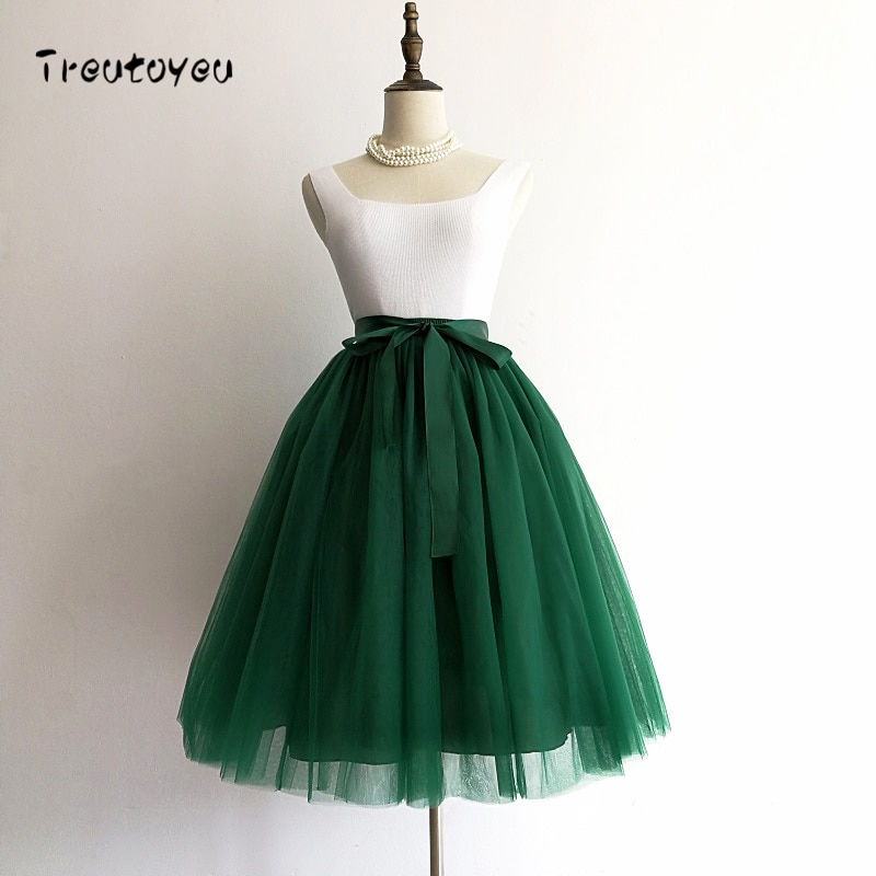 5 Layers 65cm Black Pleated skirt Sexy Midi Tulle skirt High Waist Full Lining Adult Tutu Korean Style Women 1