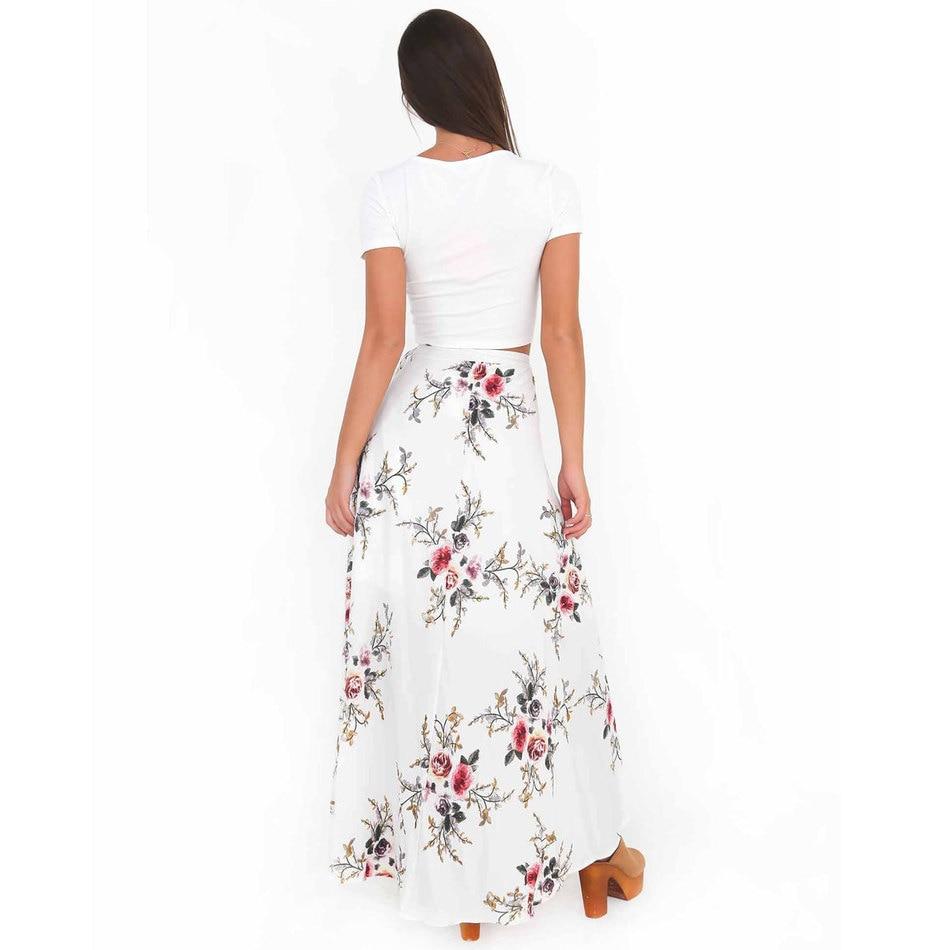 VITIANA Brand Women Vintage long Skirts Summer White Floral Print Elegant Beach Maxi Skirt Boho high waist asymmetrical skirt 3