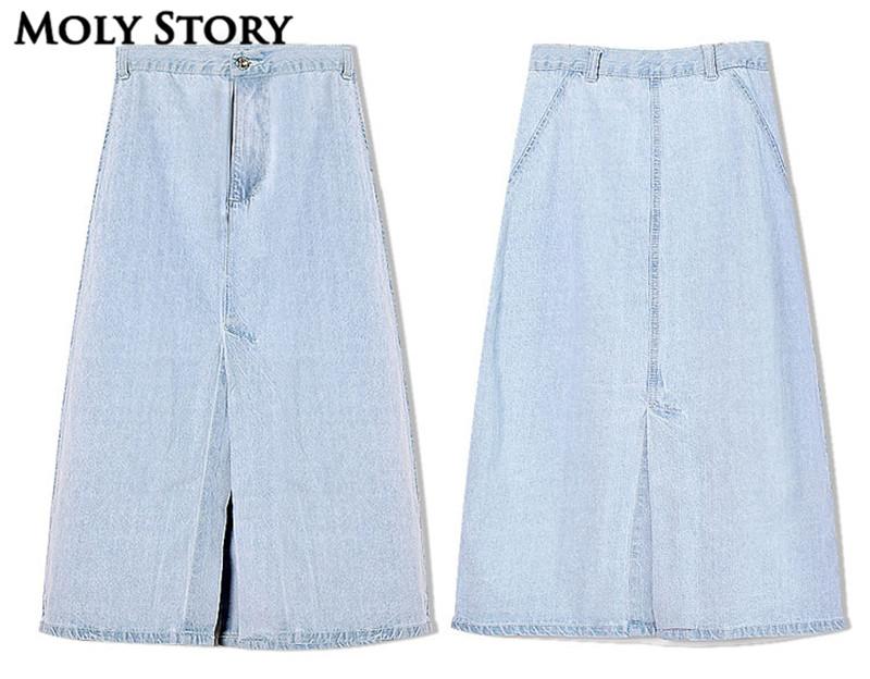 Light Blue Washed Denim Skirt Cute Casual Front/Back Split High Waist Midi Skirts A Line Jean Skirt Jupe Femme 3
